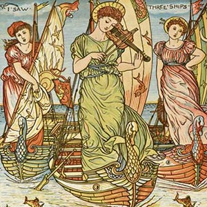 Three angelic women in sailing ships