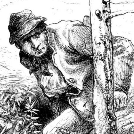 A poacher sneaks through the woods
